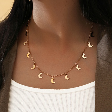 Fashion Golden Crescent Tassel Necklace NHPV303468's discount tags