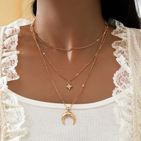 fashion multi-layer eight-pointed star necklace NHPV303470's discount tags