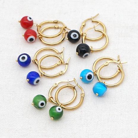 bohemian wild fashion eye beads big hoop earrings NHGW303471's discount tags