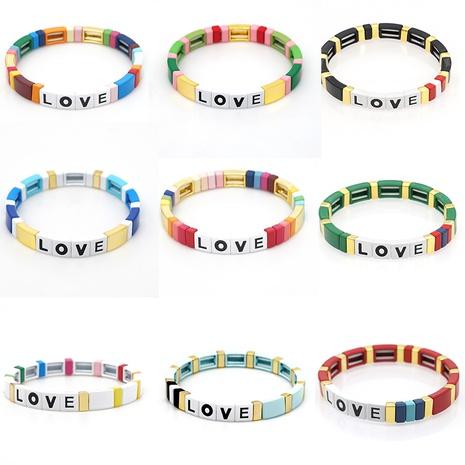 Alloy Enamel Beaded LOVE Letter Bracelet NHGW303474's discount tags