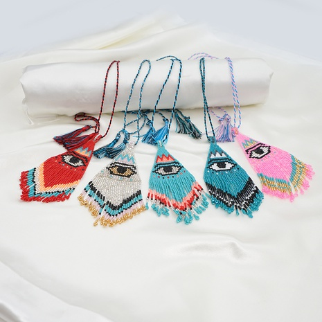 Bohemian hand-woven evil eye necklace NHGW303479's discount tags