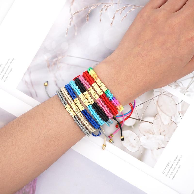 beaded handwoven bohemian gradient rainbow bracelet NHGW303480