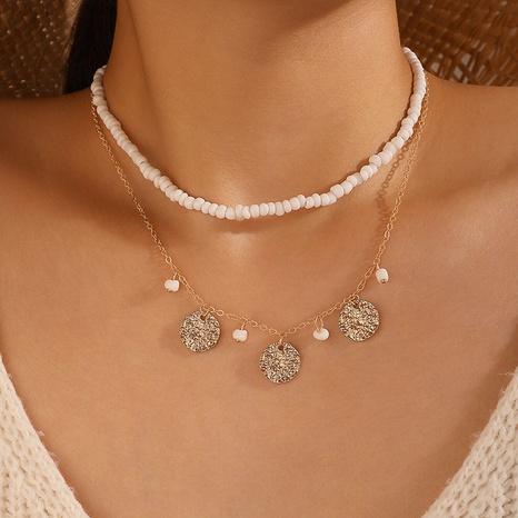Mode weiße Reisperlen Scheibe mehrschichtige Halskette NHGY303495's discount tags