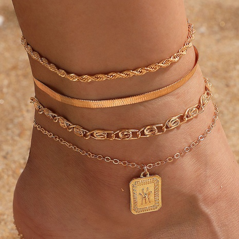 simple new snake twist chain anklet 4-piece set NHGY303499's discount tags