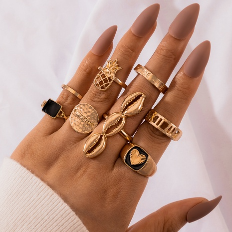 fashion exaggerated black oil dripping love pineapple shell geometric ring 8-piece set NHGY303500's discount tags