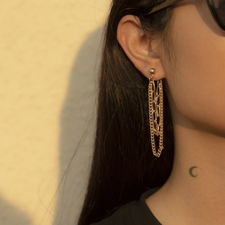 hip hop punk style metal chain hipster earrings NHXR303503's discount tags
