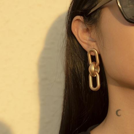 fashion chain geometric oval interlocking earrings NHXR303509's discount tags