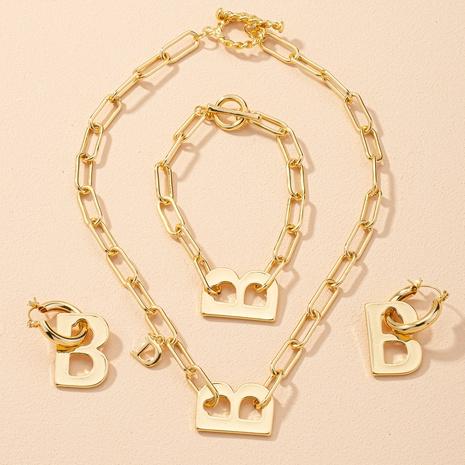 Ensemble de boucles d'oreilles bracelet collier lettre B NHAI303536's discount tags