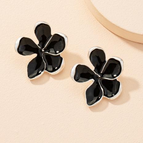 Legierung schwarze Blumenohrringe NHAI303546's discount tags