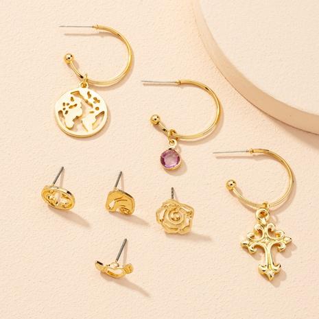 fashion heart flower earrings 7-piece set NHAI303551's discount tags
