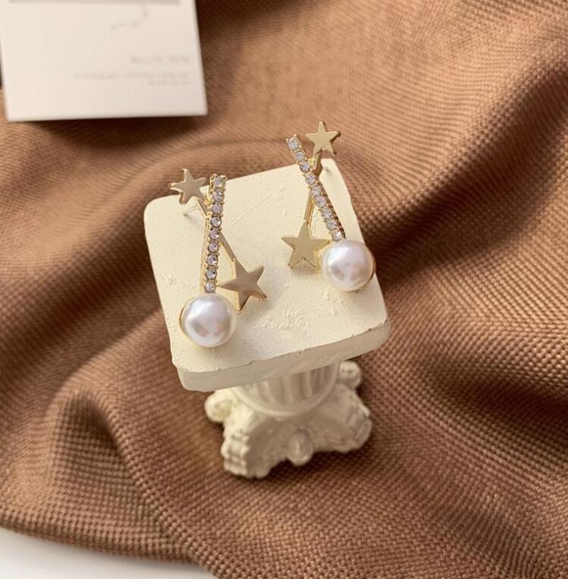Cross full diamond imitation pearl earrings NHOT303633