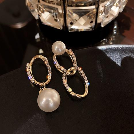 Asymmetric chain pearl earrings NHOT303639's discount tags