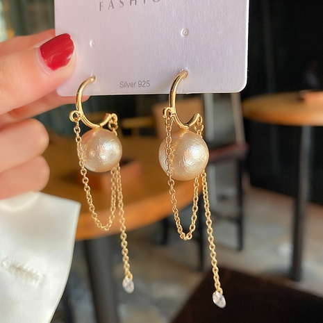Pearl tassel simple chain earrings  NHOT303638's discount tags