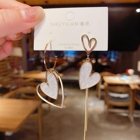 Asymmetric love tassel fashion heart shaped earrings NHOT303637's discount tags