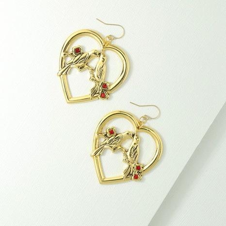 New peach heart magpie earrings NHOT303641's discount tags