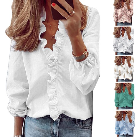 new simple ruffled long-sleeved slim printed shirt NHIS304165's discount tags