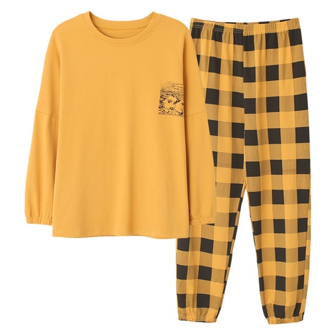 fashion long-sleeved pullover loose cute cartoon cotton pajamas NHUO304152's discount tags