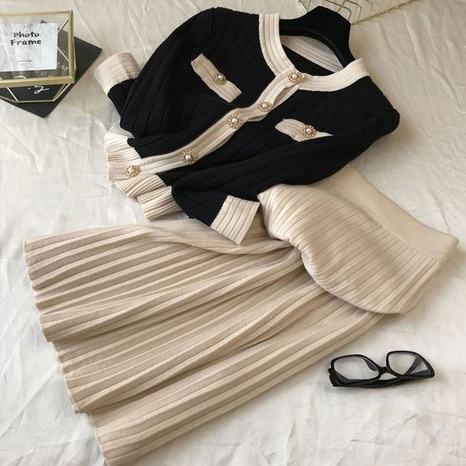 Contrast color knitted cardigan pleated half-length dress suit NHJC304149's discount tags