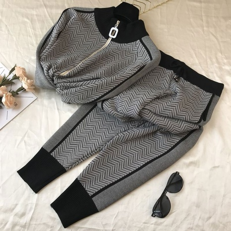 new fashion color knitted leisure sports two-piece suit NHKO304144's discount tags
