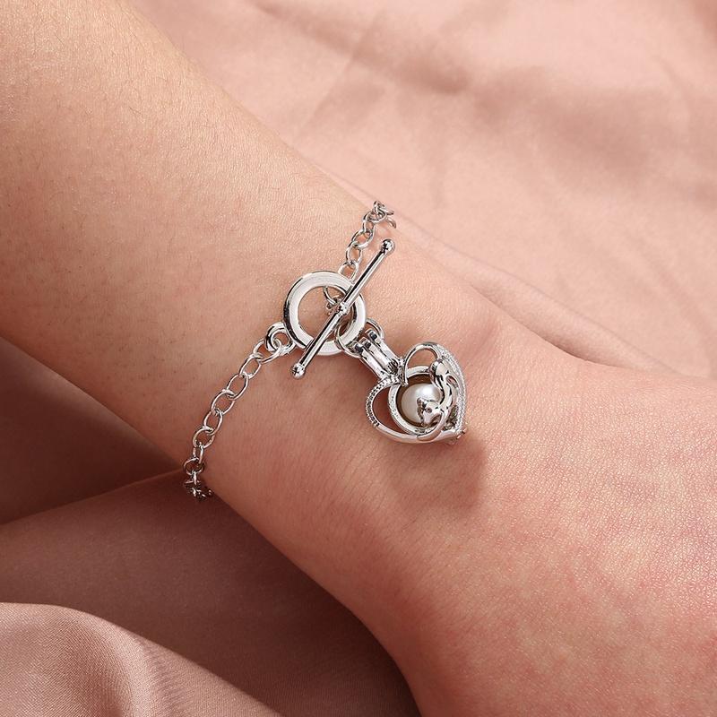pearl peach heart cage bracelet  NHAN303679