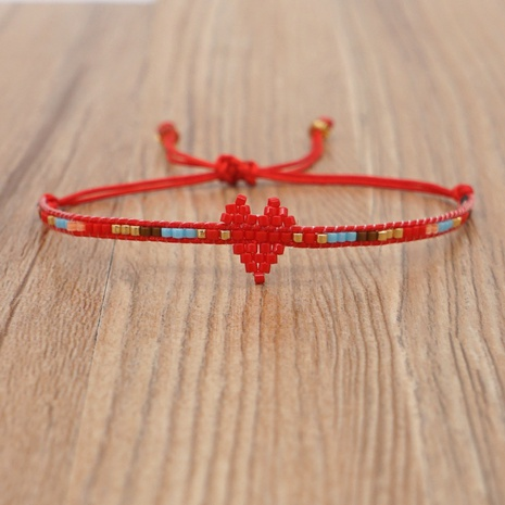 Simple Bohemian Miyuki Rice Beads Hand-woven Love Beaded Bracelet NHGW303692's discount tags