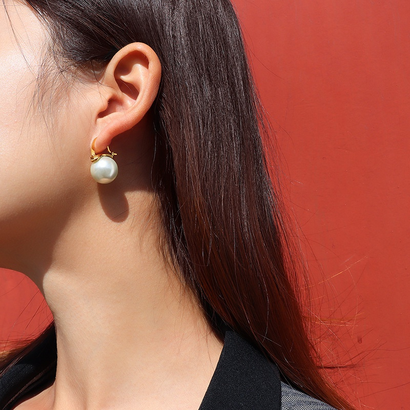 retro imitation pearl titanium steel earrings NHOK303715