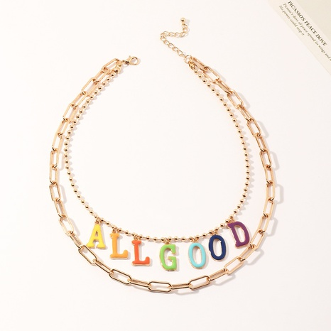 fashion chain alloy letter necklace NHNZ303736's discount tags