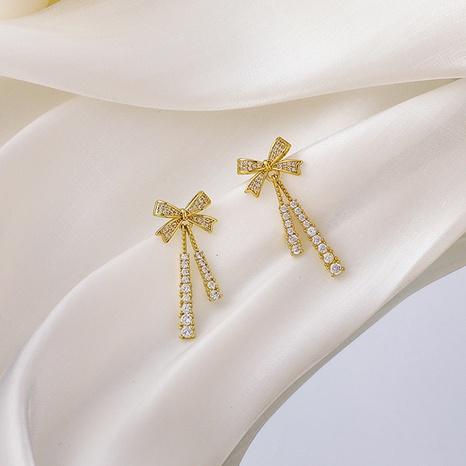 Korean bow zircon tassel earrings NHMS303741's discount tags