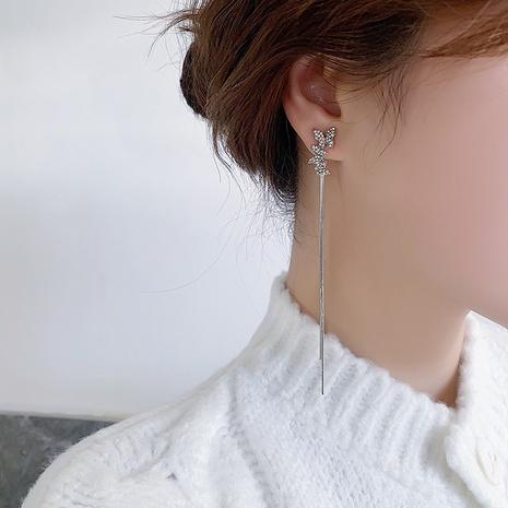 Asymmetrical butterfly tassel earrings NHMS303748's discount tags