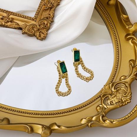 retro 925 silver needle green diamond chain tassel earrings NHMS303754's discount tags