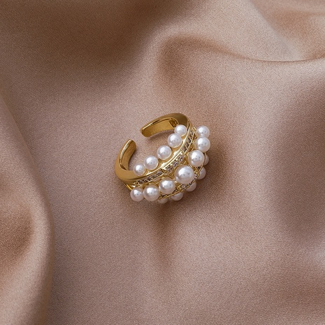 fashion pearl zircon ring NHMS303761's discount tags