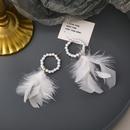 einfache Perle Feder neue trendige Ohrringe NHMS303762