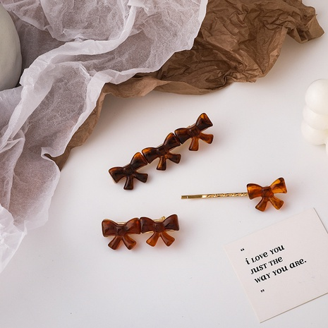 Retro coffee color bow hairpin  NHMS303781's discount tags