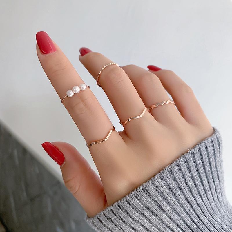 fashion simple pearl ring set NHMS303798