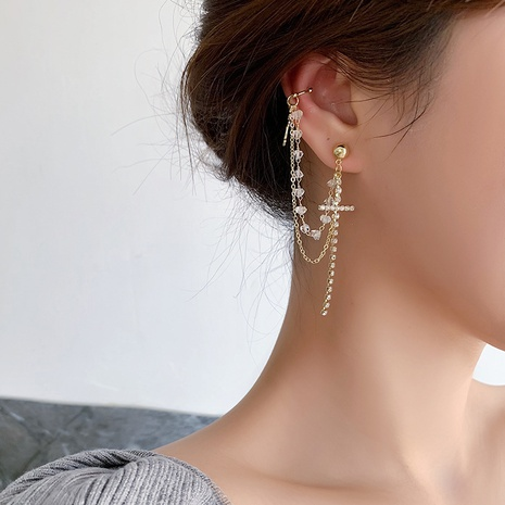 sweet crystal rhinestone cross chain tassel earrings NHMS303803's discount tags