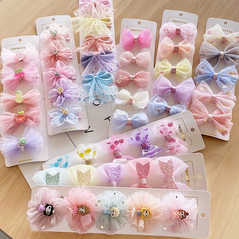 Net yarn children's bow hairpin set NHNA303810's discount tags