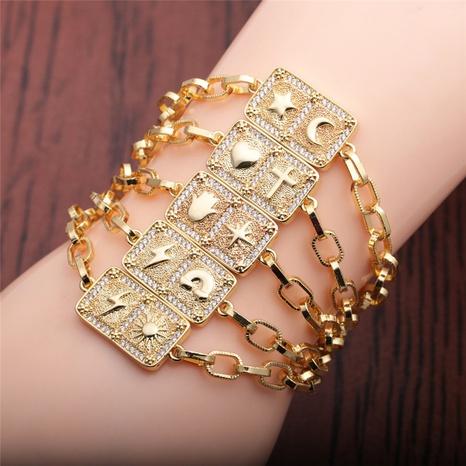 hip hop zircon lightning moon cross love adjustable bracelet NHYL303816's discount tags