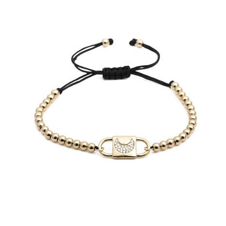 simple zircon moon copper beads black rope adjustable bracelet NHYL303829's discount tags