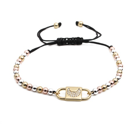 simple mixed color copper beads black rope chain zircon moon adjustable bracelet NHYL303830's discount tags
