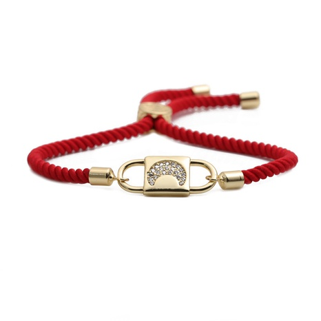 simple star copper zircon moon religious red string adjustable bracelet NHYL303837's discount tags