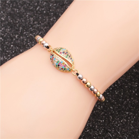 new mixed color bead chain micro-inlaid zircon shell devil's eye woven bracelet NHYL303847's discount tags
