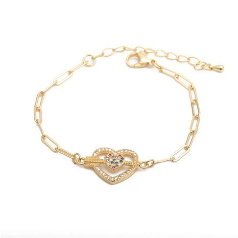 hip hop micro-inlaid zircon one arrow through the heart adjustable Cuban bracelet NHYL303851's discount tags