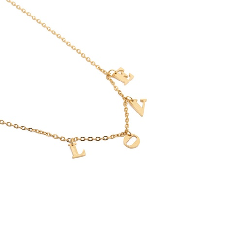 titanium steel letters LOVE necklace NHYL303862's discount tags