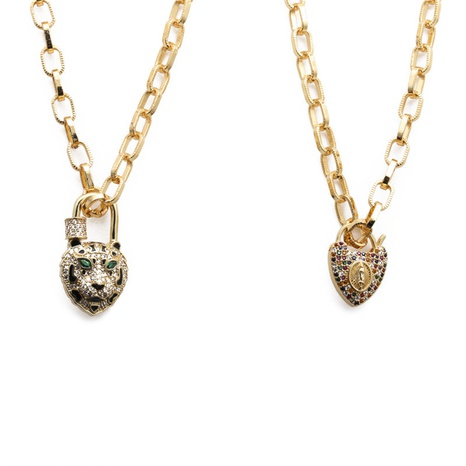 hip-hop zircon leopard head heart necklace NHYL303863's discount tags