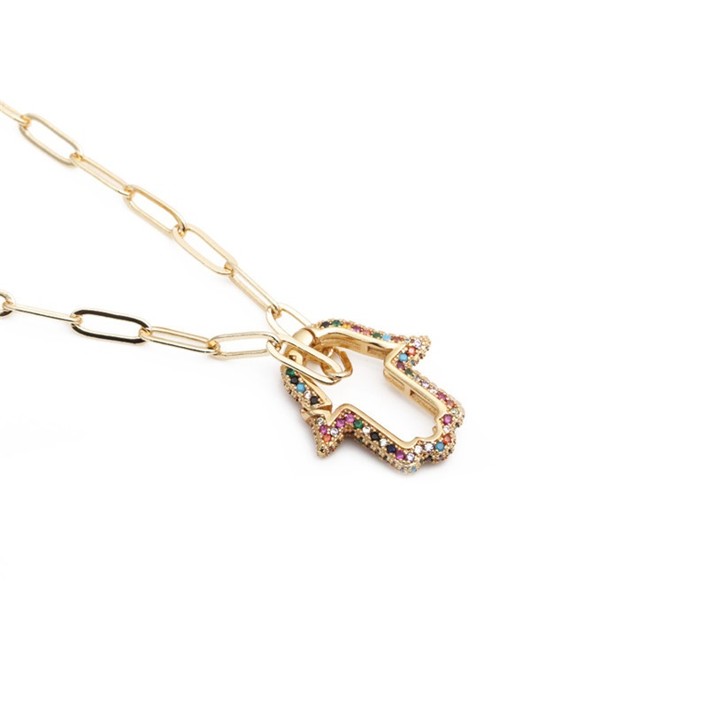 colorful zircon palm hip hop necklace NHYL303869