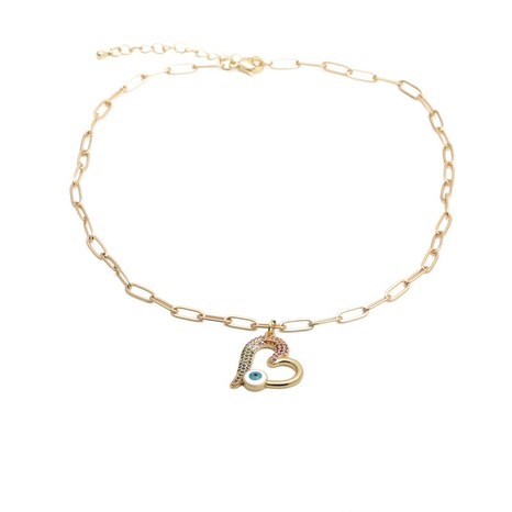 Hip Hop Zircon Heart Necklace NHYL303874's discount tags