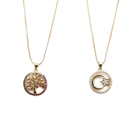 simple zircon tree of life moon star pendant necklace NHYL303878's discount tags