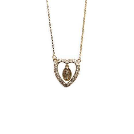 zircon heart Virgin Mary necklace NHYL303883's discount tags