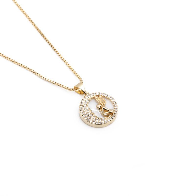 simple zircon angel wing pendant necklace NHYL303885