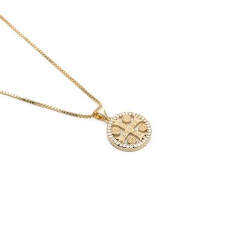 collar con cruz de perlas y circonitas NHYL303900's discount tags